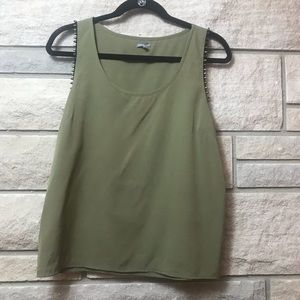 Army Green Studded Chiffon Tank